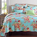 Oversized King Duvet Covers 118 X 98 Pure Cotton 3-Piece Quilt Set, Flower Print Bedspread Set, Coverlet Bed-cover, Queen Size, Blue