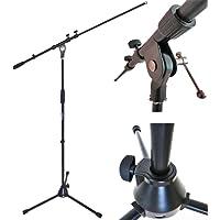 KEEPDRUM MS106 BK BLACK Mikrofonständer Mikrofonstativ mit Galgen u. Metall-Sockel