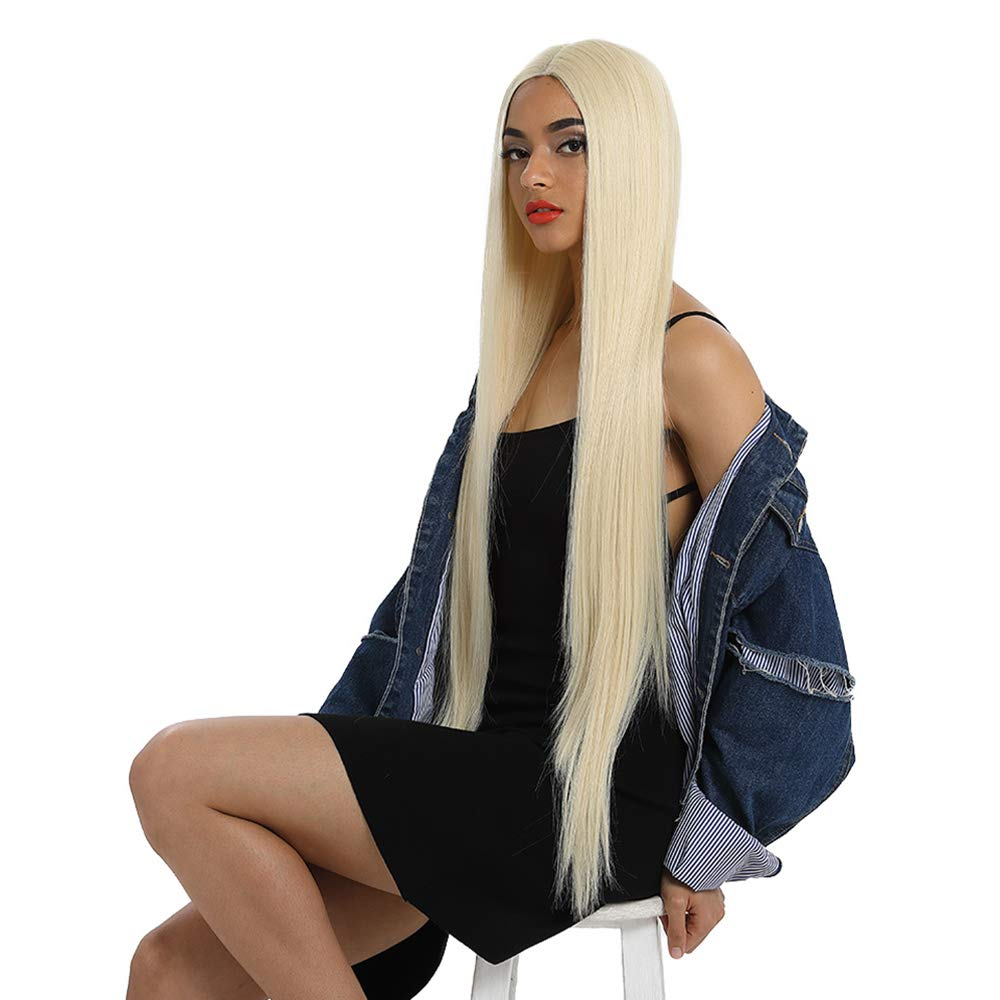 """Style Icon 38"""" Super Long Straight Wigs Lace Front Wigs 6"""" Deeper Middle Part Lace Wig 613 White Synthetic Wigs(38"""", 613)"""