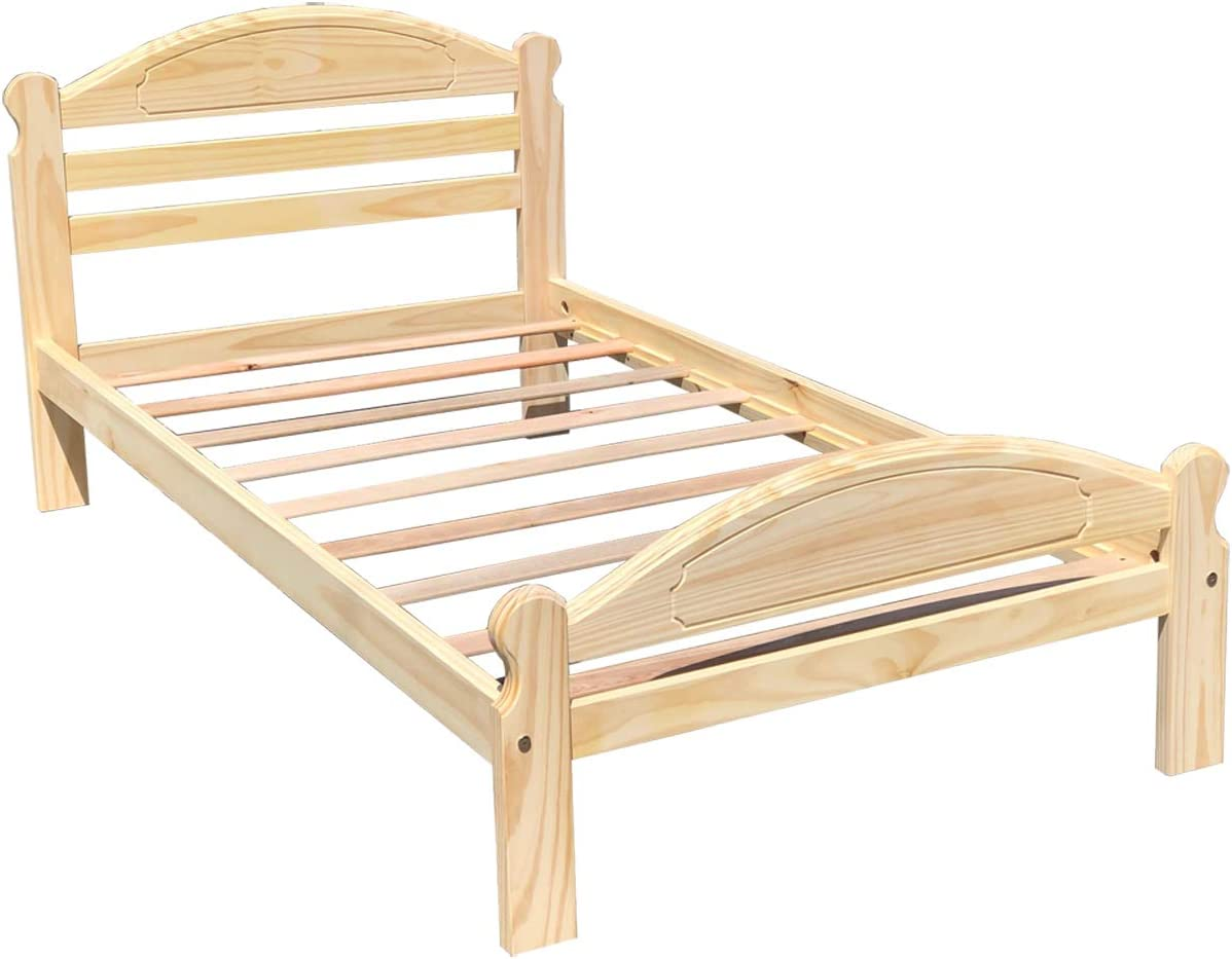 Arizona Twin Xl Bed Solid Pine Wooden Bed Unfinished With Hardwood Slats Suitable For Boys Girls Kids Bedroom Wooden Bed Frame Easy To Assemble Single Bed Kitchen Dining