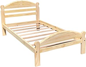 Arizona Twin Bed Solid Pine Wooden Bed Unfinished with Hardwood Slats Suitable for Boys Girls Kids Bedroom Wooden Bed Frame Easy to Assemble Single Bed