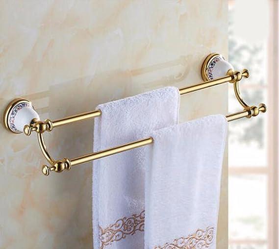 Sursy Toallero de oro, todo el cobre principal toallero baño baño colgante, Unión doble barra toallero, colgador de toallas,D: Amazon.es: Hogar