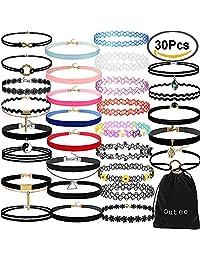 Outee 30 PCS Black Velvet Choker Necklace Set Henna Tattoo Choker Set Velvet Tattoo Ribbon Velvet Choker Set for Teen Girls Women
