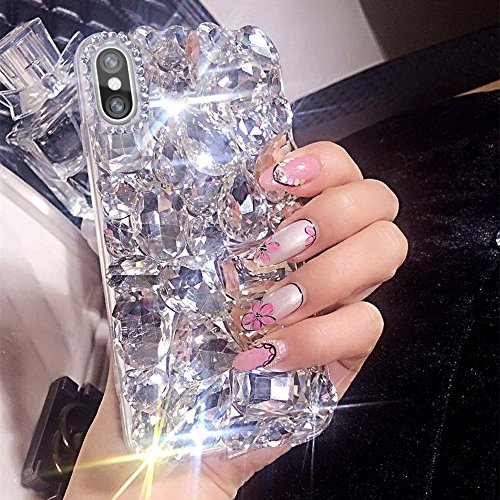 Aifeer iPhone X Diamond Case, 3D Handmade Luxury Sparkle Rhinestones Full Crystals Diamond Case Cover for iPhone X (Clear)