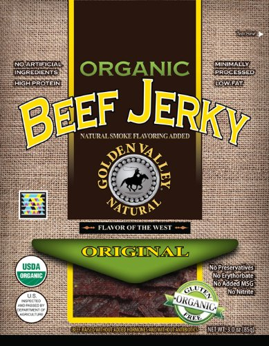 Golden Valley Natural Organic Beef Jerky, Original, 3-Ounce Pouches (Pack of 8)