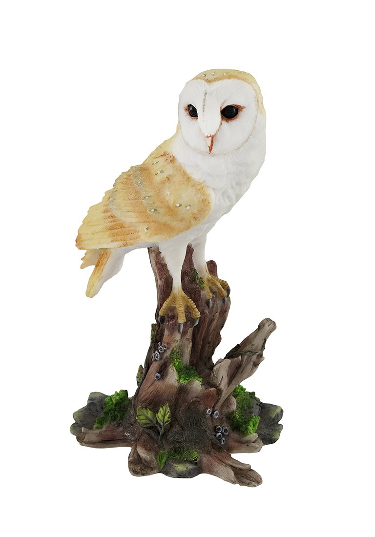 Veronese Design Barn Owl Vigilantly Perched on Tree Stump Statue