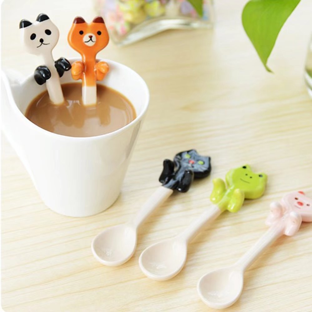 KateDy 3pcs Baby Ceramic Dessert Spoon Cute Animals Handle Tea Coffee Feeding Small Spoon,Can Be Hanging Cup Spoons,Perfect Gift for Boys Girls(Panda+Pink Pig+Bruins) by Katedy (Image #5)