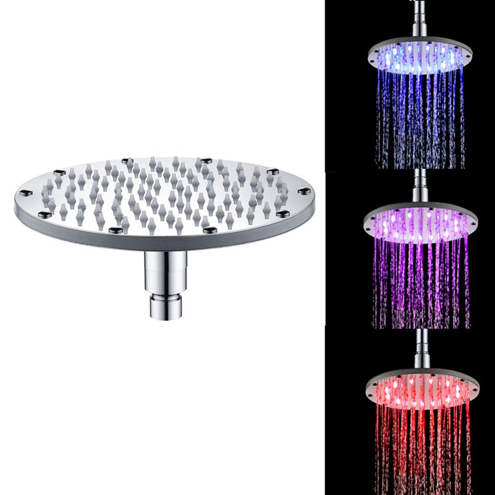 cheerfulus 8 inch Round LED Shower Head 3 Color Changing Temperature Control LED Top Sprayer Bathroom (blue green red)