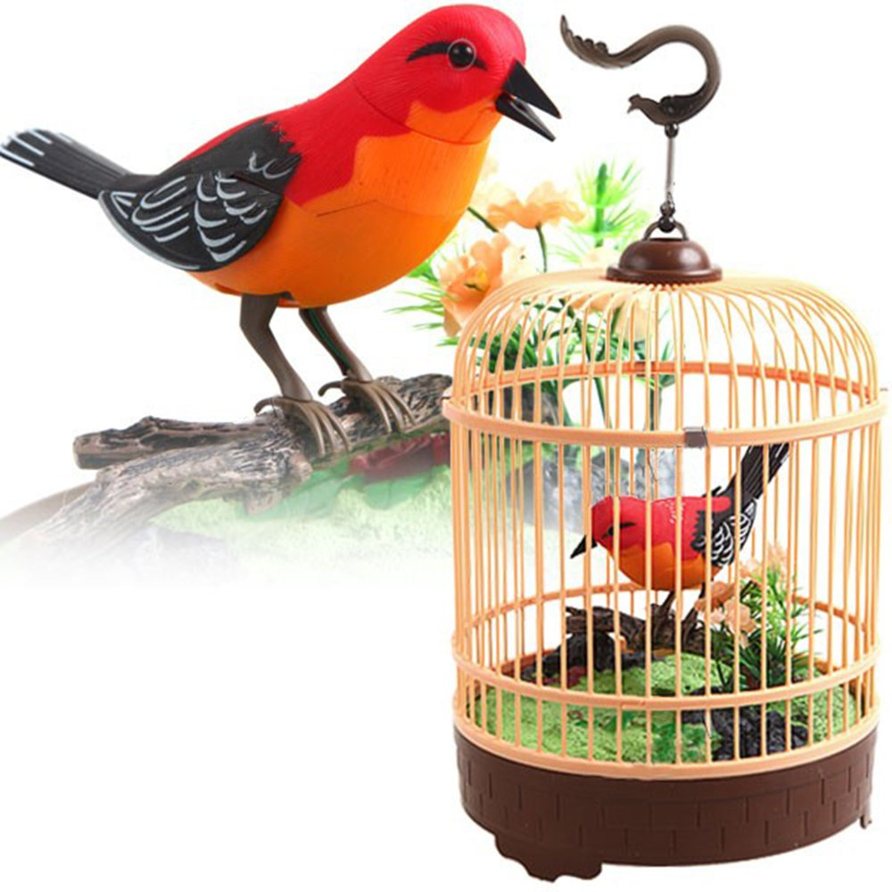 Liberty Imports Singing Chirping Bird Toy in Cage | Realistic Sounds Movements | Sound Activated