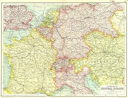 Map Of Germany Austria.Central Europe Railways France Germany Austria Hungary Switzerland