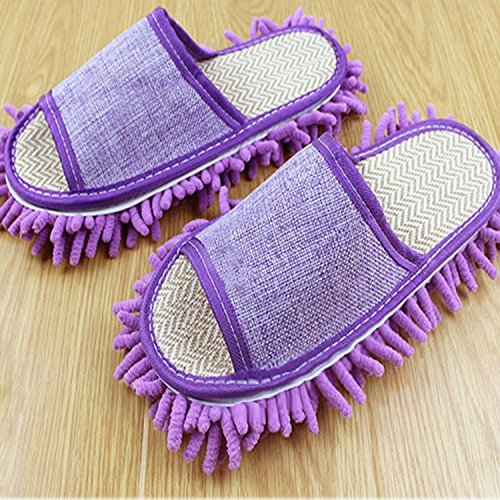 MFINHOME Slipper Genie Microfiber Pair House Floor Polishing Dusting Cleaning Foot Socks Shoes Mop Slippers Purple (Violet)