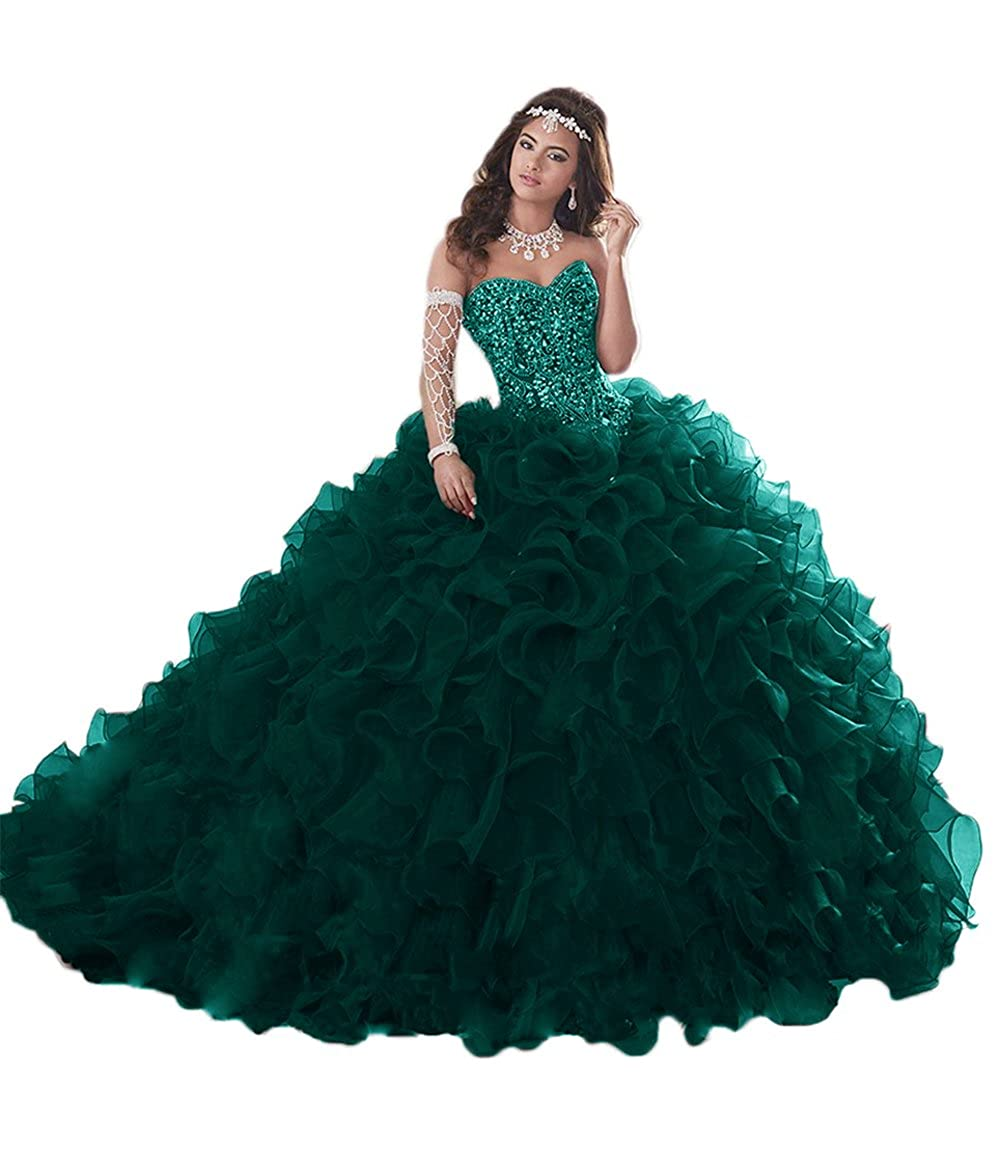 Dark Green APXPF Women's Heavy Beaded Organza Ruffle Quinceanera Dresses for Sweet 16 Prom Ball Gowns
