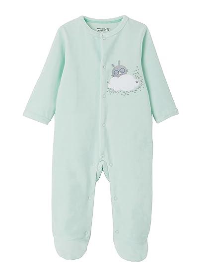 VERTBAUDET Lote de 2 pijamas de terciopelo para bebe con automáticos delante Lote Verde Intenso NACIMIENTO