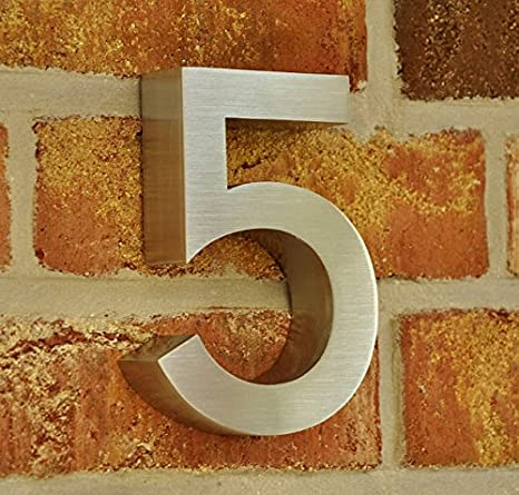 nanook Hausnummer 'Style' - 3D-Design Edelstahl gebü rstet - 15, 5 x 3 cm - Nr. 9