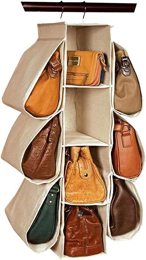 laime Homewares Nonwoven Purse Handbag Organizer 10 Pockets Hanging Closet Storage Bag(Beige)