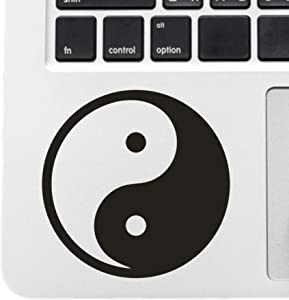 "CUSHYSTORE 2.5"" Yin Yang Chinese Tao Taoist Spiritual Black Decals for Car Helmet Phone Laptop, 2 Packs"