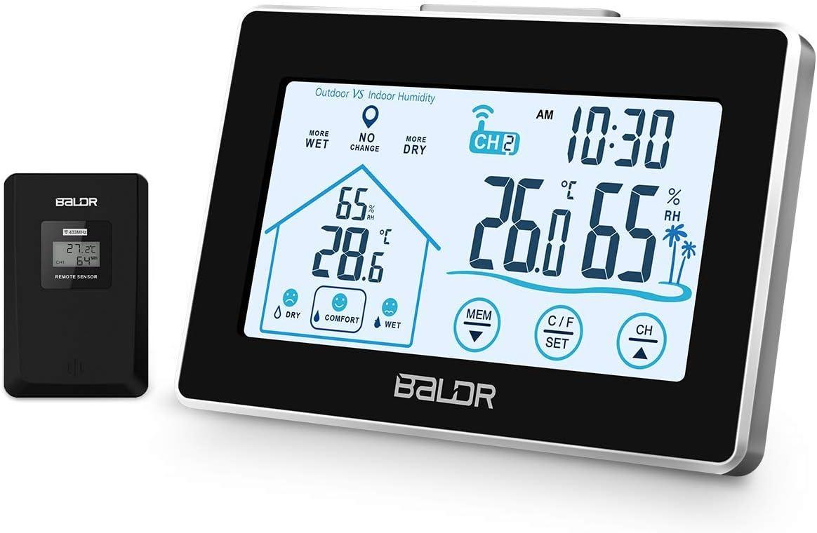 Osaloe Termómetro higrómetro Interior Exterior, Pantalla LCD Digital para el gráfico de Temperatura y Humedad, Memoria de MAX/Mini
