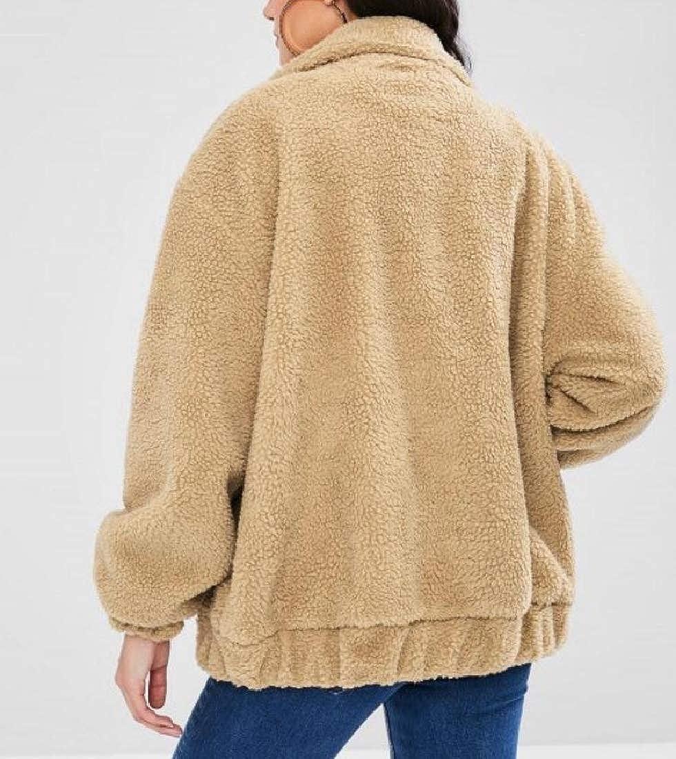 YUNY Women Solid Big Pockets Wrap Casual Faux Fleece Outerwear Camel M