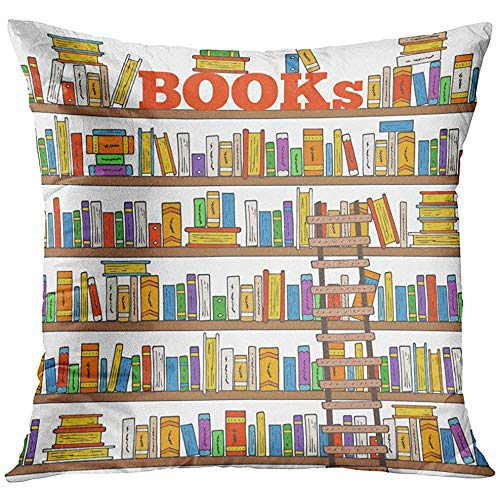 - Throw Pillow Cover Bookstore Doodle Books Shelves Collection with and Ladder for Store Library Reading Club Bookshelf Classroom Decorative Pillow Case Home Decor Square 18x18 Inches Pillowcase