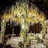 Ainest 12x Artificial Silk Wisteria Fake Garden Hanging Flower Vine Wedding Decor White