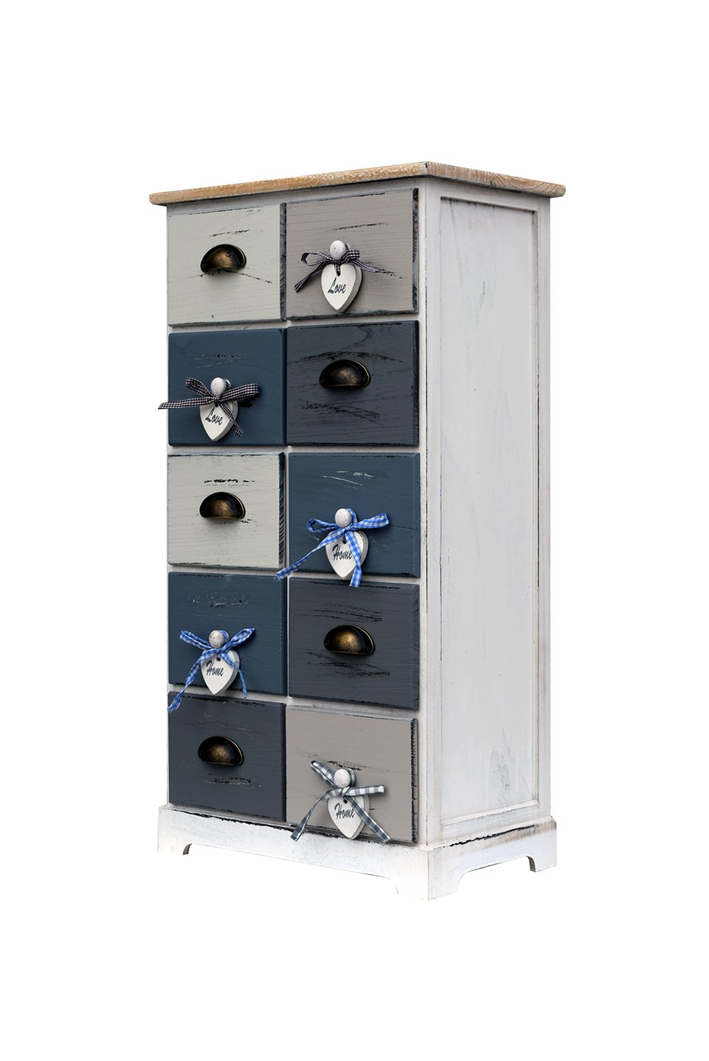 Rebecca srl Chest of Drawers Cabinet 10 Drawers Wood White