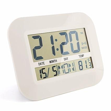 FunnyToday365 Reloj Digital de Pared con Números Grandes, Pantalla LCD, Reloj de Mesa con