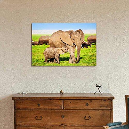 Mother Elephant Feeding a Baby Elephant on African Savanna Wall Decor
