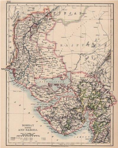 Baroda India Map.Amazon Com British India Nw Gurajat Sindh Bombay Mumbai North