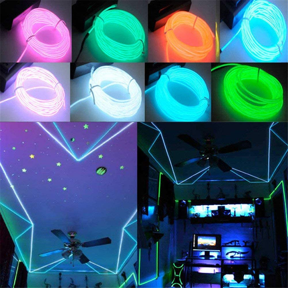 Jiguoor 5M EL Wire Bright Light Neon Tube of 360/° of Illumination for Halloween Light Green//Yellow//Orange//Purple White//Blue//Red//Pink//Fluorescent// Christmas Festival Party Decorate
