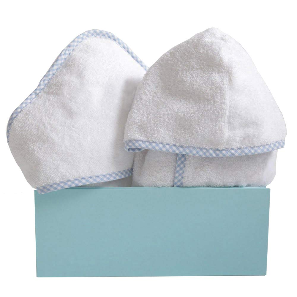 Baby Boys Blue Gingham Trim Cotton Terry Bathrobe & Hooded Towel Gift Set (1-2 Years) by My 1st Years