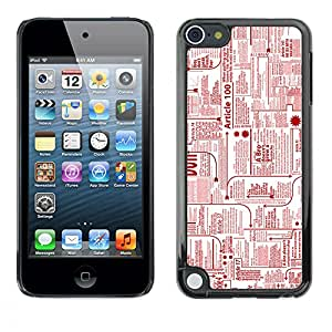 Qstar Arte & diseño plástico duro Fundas Cover Cubre Hard Case Cover para Apple iPod Touch 5 ( Newspaper Ads Red Ink Printing Letters Writing)