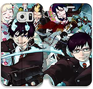 Screen Protection Phone Cases Blue Exorcist-20 iPhone Samsung Galaxy S6 Edge Leather Flip Case