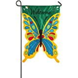 Colorful Welcome Sculpted Butterfly Applique Garden Flag