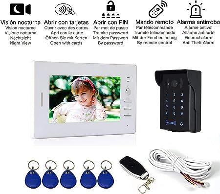 Visiophone 1 X Moniteur LCD 7 Pouces, 1 X Cam/éra Infrarouge avec Vision Nocturne. D/éverrouillage avec Carte RFID, Mot de Passe et T/él/écommande Nudito Kit Sonnette de Porte Visuelle Filaire