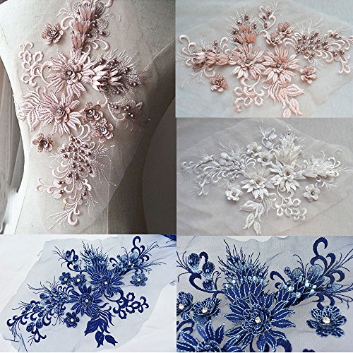 Exquisite Lace Applique Crystal Beaded Flower Patch 3D Blossom Flower Motif for Bridal Dress Evening Gown Dance Costumes (Blossom Beaded)