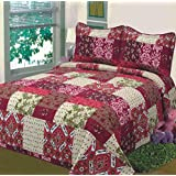 Fancy Collection 3pc Bedspread Bed Cover Floral Beige Red Green Brown Burgundy #51 King/California King Over Size 118x 106