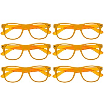 4fcb874faf4 6 Pack Unisex Orange Clear Lens Translucent Sunglasses Bulk Set Lot Adults  Juniors at Amazon Women s Clothing store