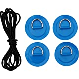 Heavy Duty Boat Bungee Deck Rigging Kit w// D-ring Patch and Shock Cord Blue