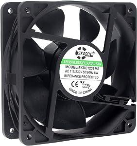 SXDOOL EC Motor Cooling Fan, 120mm Fan, 120mm 38mm AC 110V 115V 120V 220V 240V, Dual Ball Bearing 3000RPM Powerful