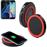 Perman Qi Wireless Power Charger Charging Pad for Galaxy S7, Galaxy S7 Edge, Galaxy S6, S6 Edge, S6 Edge Plus, Note 5 and All Qi-Enabled Devices Red