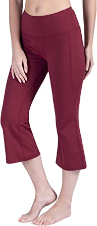 Rataves Womens 21 Inch Kick Flare Yoga Capri Pants High Waist Bootcut Crop Capri Workout Bootleg Leggings Pockets 001