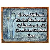 Wood-Framed God is Great Blessing Metal Sign, Inspirational, Christian, Kitchen Décor on reclaimed, rustic wood