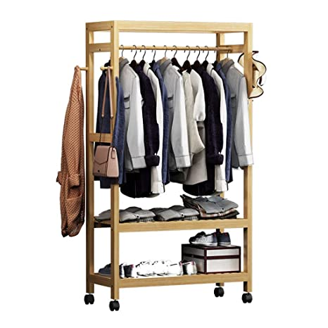 LPD-coat racks Perchero de pie de bambú para Colgar Abrigos, Ideal para Dormitorio