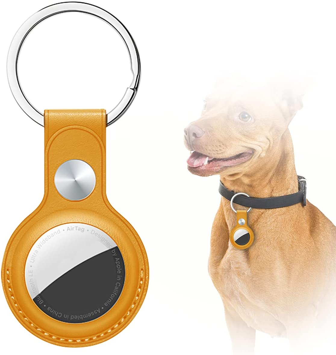 AICase Case for AirTag with Keychain Ring, Protective Leather Holder Tracker Cover with Keyring Compatible with Apple New Air Tag 2021 for Pets, Keys, Luggage, Backpacks
