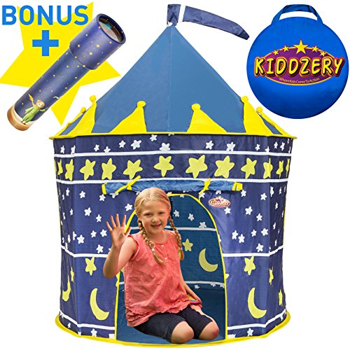 Kiddzery Castle Play Tent, Includes Free Kaleidoscope, Great Gift Idea for Boys & Girls - Foldable Pop Up Prince House Design for Child Development & Learning - Sturdy & Durable for Indoor/Outdoor Use