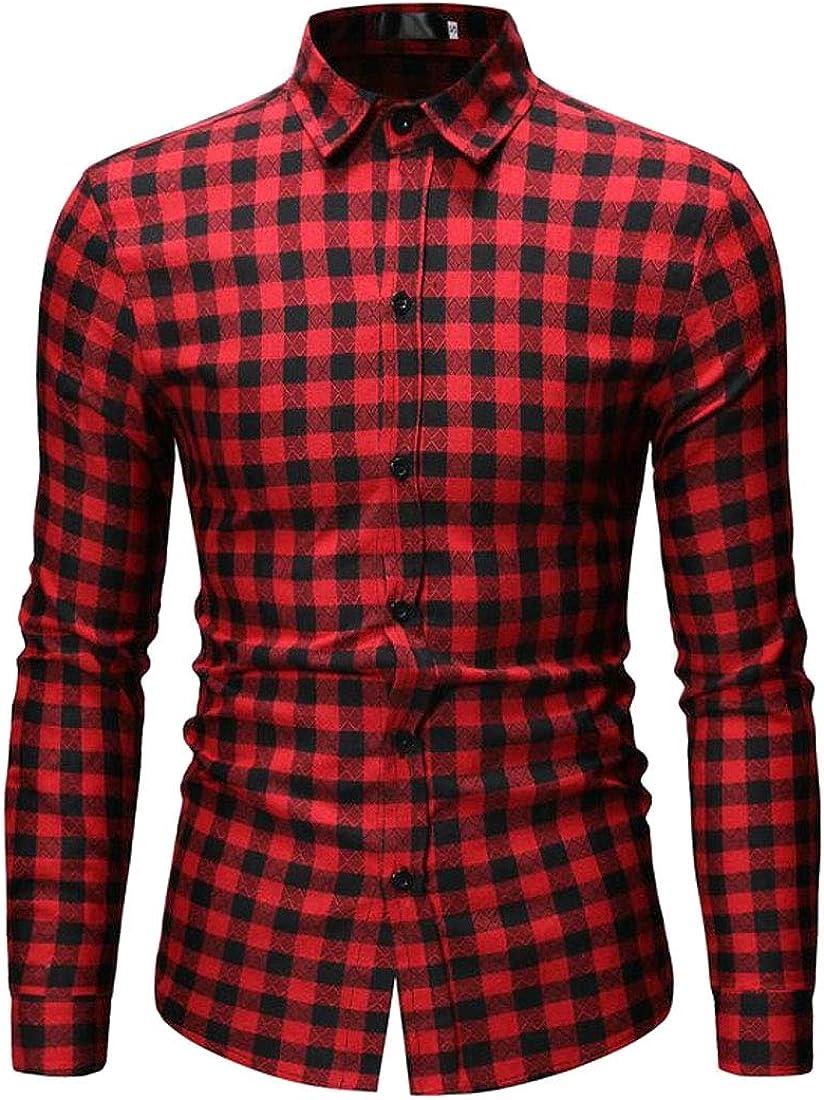 OTW Men Business Regular Fit Plaid Print Long Sleeve Casual Button Up Dress Shirt