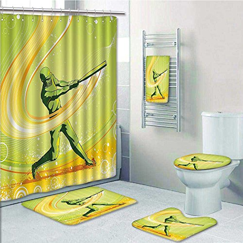 Homesonne 5-Piece Bathroom Set-Baseball Player Hits The Ball Batter Athlete Pitcher League Team Man Artsy ra Prints Decorate The Bathroom,1-Shower Curtain,3-Mats,1-Bath Towel