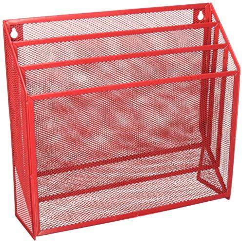 Honey-Can-Do Malla Organizadores de mesa, Clasificador vertical de archivos, hecho de malla, 3.6 x 12.6 x 11.5', Rojo, 1 uds....