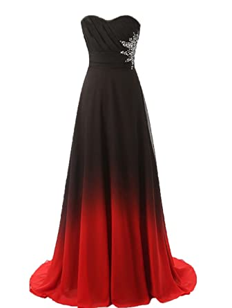 cf43a4eac05 ZVOCY Gradient Prom Dress Formal Evening Gowns Ombre Chiffon Long Prom  Party Dresses BlackRed 2