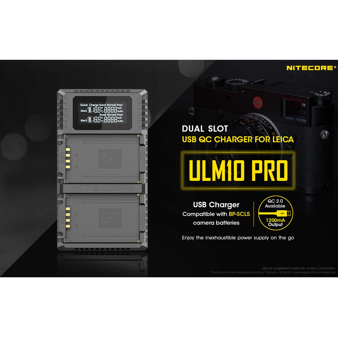 NITECORE ULM10 Pro Digital QuickCharge 2.0 USB Battery Charger Compatible with Leica BP-SCL5 Batteries & LumenTac Keychain Flashlight by Nitecore (Image #3)